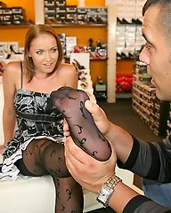 Super hot long leg strocking babe flirts with the clerk at the shoe store after helping her try on some shoes and get her hot ass banged against the f