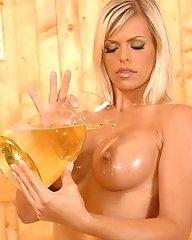 Hard nippled blond babe